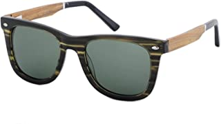 LUKEEXIN Patterned Square Shape Men's Polarized Sunglasses Acetate Fibre and Wood Frame TAC Lens UV Protection Driving Fishing Beach Outdoor Sunglasses (Color : Green)