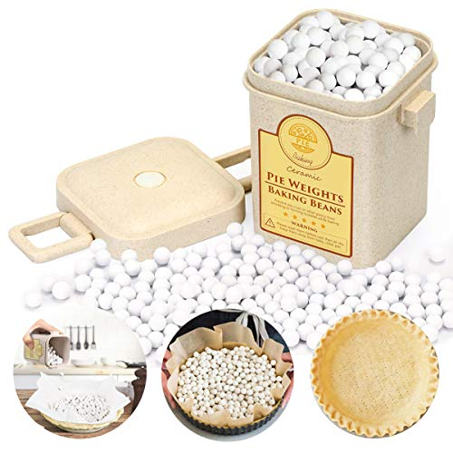 2.2 LB Pie Weights, Pie Weights for Baking 10mm Baking Beans Ceramic Crust Beads with Wheat Straw Container for Baking(1000g)