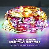LED Lichterkette, Zorara 2er 10m 100 LEDs Lichterketten, USB Lichtervorhang Wasserdicht 8 Modi für Innen und Außen, Weihnachten, Party, Kinderzimmer, Zimmer DIY Deko Lichterkettenvorhang (Mehrfarbig) - 3