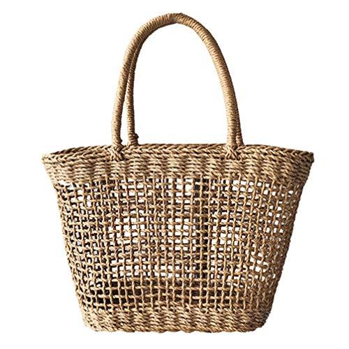 PRETYZOOM - Bolso de mano para mujer, de ratán, para el verano, para la playa o el mar