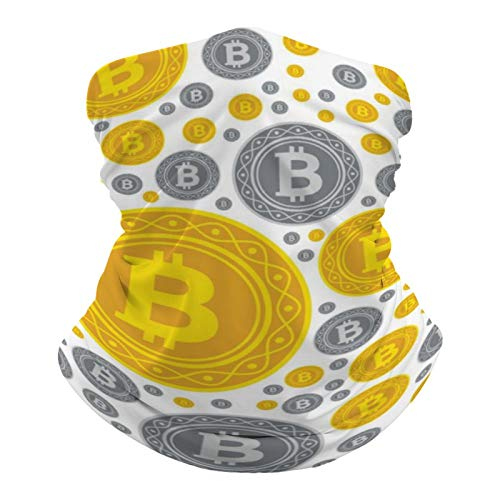 Bitcoin Coins Seamless Pattern Neck Gaiter Summer Cooling Face Mask Headband Reusable, Seamless Face Cover Washable Bandana Scarf Sun Dust Protection Balaclava for Fishing Cycling