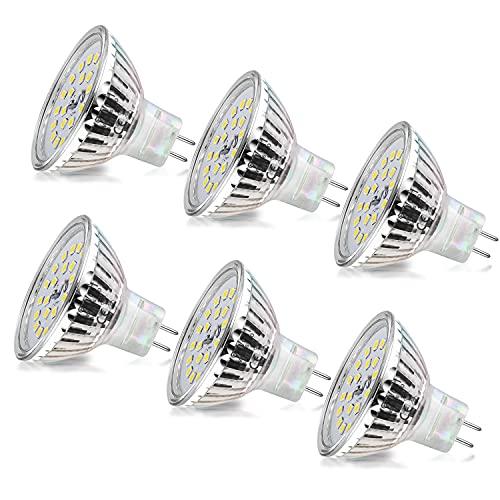 Wowatt 6er MR16 LED Kaltweiss Led GU5.3 MR16 12V 6W Ersatz für 40W 35W Halogen Lampe AC DC12V Kein Stroboskopeffekt GX5.3 6000K 510lm Hell Spot Birne Leuchtmittel 120°Abstrahwinkel Tageslicht