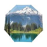 SUHETI Ombrello Portatile,Picco del ghiacciaio di Snowy e del lago nella foresta di pino alta di Washington USA,Ombrello Pieghevole Automatico Antivento