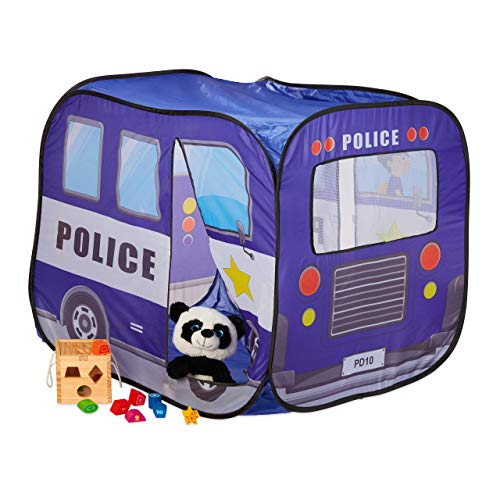 Relaxdays 10028903 Pop Up Play Tent, Ball Pit for Children, Playhouse Police Patrol Car, HxWxD: 82.5x65.5x90.5 cm, Dark Blue