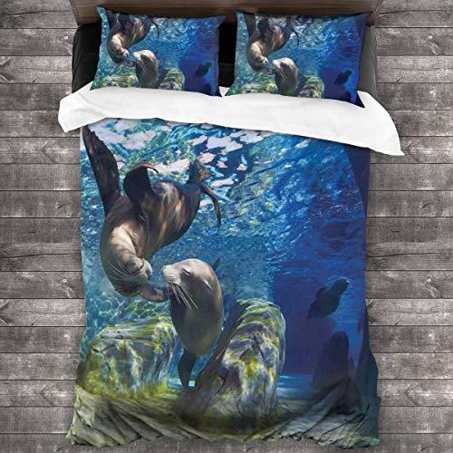 BEITUOLA Juego de Funda nórdica,Impresión submarina de Leones Marinos juguetones,1 Funda de Edredón y 2 Fundas de Almohada 240 x 260cm