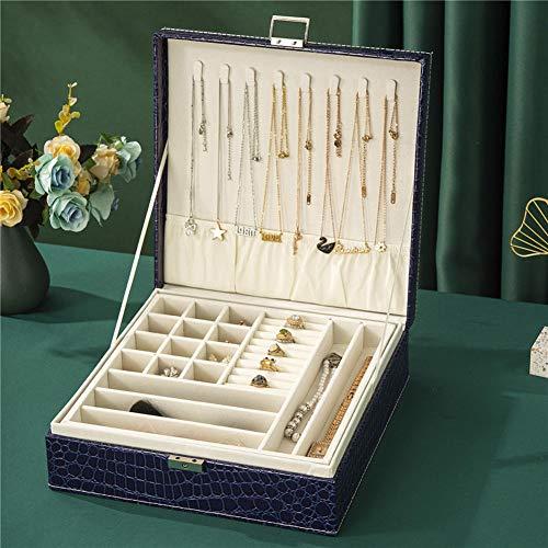 NFRADFM Caja de joyería, caja organizadora de joyas de cuero de 2 capas, caja de almacenamiento de joyas con cerradura, pendientes collar caja de almacenamiento de joyas