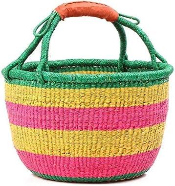 """Queen Band Fair Trade Ghana Bolga African Market Basket 14-16"""" Across"""