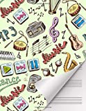 Wide Staff Manuscript Paper: 100 pages, large 8.5x11 inches, 6 staves per page, Blank Sheets Song Writing Journal, Music Notebook for Kids, Students and all Musicians: Music Inspirations