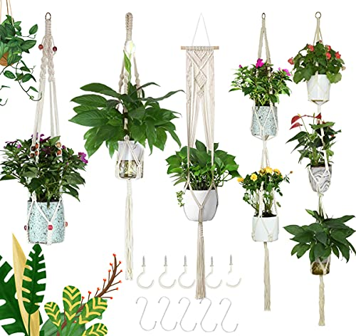 5-Pack Macrame Plant Hangers with 10 Hooks, Different Layers, Handmade Cotton Rope Hanging Planters Set Flower Pots Holder Stand, for Indoor Outdoor Boho Home Decor (5 Sizes_5 Pack)