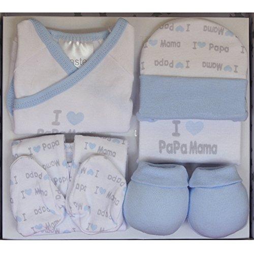 "Set Regalo Primera Puesta""I love You"": Gorrito + Pantalón + Camiseta + Manoplas + Babero, Color Azul."