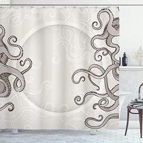 ABAKUHAUS Kraken Cortina de Baño, Pulpo Circular Peces, Material Resistente al Agua Durable Estampa Digital, 175 x 240 cm, El Polvo Gris Pardo