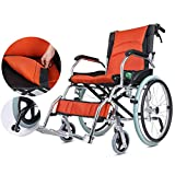 BTIR Transport Friendly Lightweight Folding Manual Wheelchair for Adults , Ergonomic Ultra Manual Wheelchairs, 16 Inches Seat Width (Color : Orange, Size : 20-inch Rear Wheels)