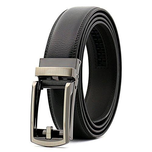Men's Dress Comfort Genuine Click Belt,Adjustable Leather Belt 27-46' (Comfort Belt-1) (Black)