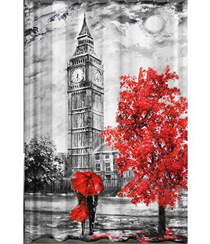 Ekershop Digitaldruck Qualität Textil Duschvorhang Wannenvorhang London Big Ben 240x200cm inkl. Ringe