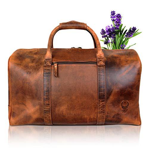 Leren reistas voor dames en heren, vintage lederen tas voor korte reizen, echt leer, voor handbagage en bagage, grote handtas als sporttas, bruin I TB14 Corno d'ORO