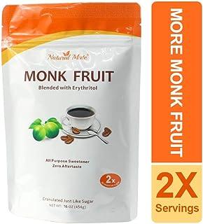 Natural Mate Monkfruit Sweetener with Erythritol (16oz/1Lb, 5 Pack) - All Purpose Granular Natural Sugar Substitute - 1:2 ...