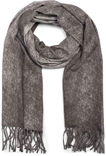styleBREAKER Unisex weicher melierter Schal mit langen Fransen, Winter, Stola 01017109, Farbe:Dunkelgrau