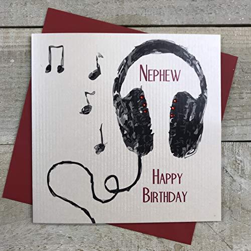witte katoenen kaarten Nephew Happy, Handgemaakte Jongens Verjaardagskaart (Hoofdtelefoon)