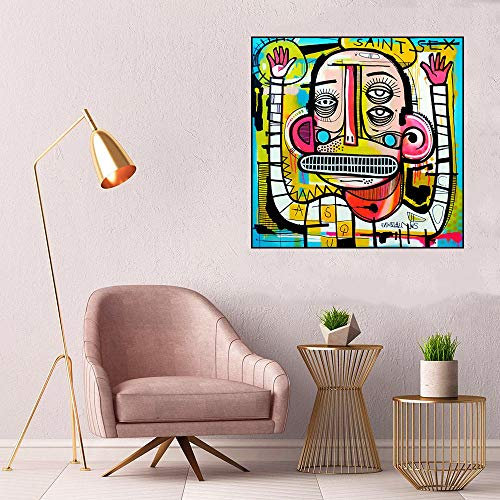 HNZKly Jean-Michel Basquiat Cuadros Joachim Abstracto Calle Arte Graffiti Poster Banksy Pared Arte Impresiones Minimalista Lienzo Pop Arte Hogar Decoracion 60x60cm / Sin Marco M13