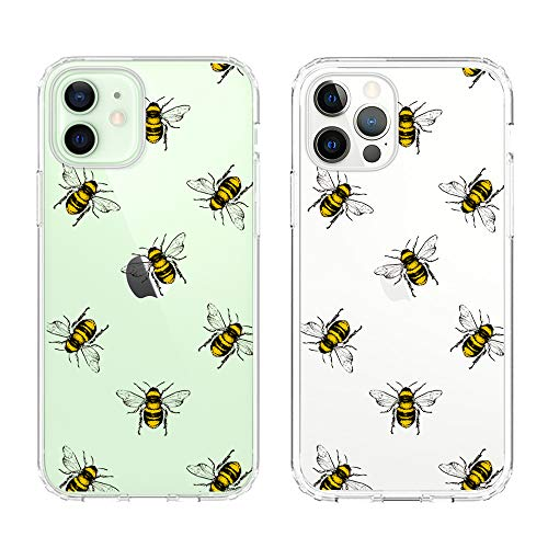 uCOLOR Bee Clear Case Compatible with iPhone 12 Pro/iPhone12 (6.1') Thin Slim Hybrid Case Anti-Scratch Protective Crystal Clear Case for iPhone 12/12 Pro 6.1' 2020 (Bees)