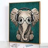 Cadeau de Peinture par NuméRos,Éléphanteau portant des lunettes Peinture à L'Huile Toile de...