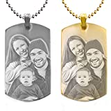 Custom Photo Text Engraving Dog tags Stainless Steel Necklace Pendant + Free Engraving