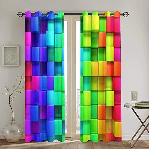 Cortinas perforadas,pantalla de contorno de color arco iris Bloque futurista Sala de estar artesanal geométrica tipo ladrillo Cortinas de ventana de dormitorio Juego de 2 paneles,104 WX 84 L pulgadas