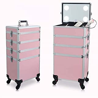 Aluminium Rolling Makeup Case Salon Cosmetic Organiser Trolley Train Case Pink Large 4 in 1 Cosmetics Case Beauty Trolley ...