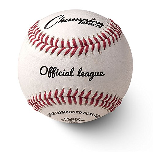Champion Sports Leather Baseball Set: Dozen Indoor / Outdoor Genuine Leather Official League Baseballs for Practice Training or Real Game - OLBXX Pack of 12