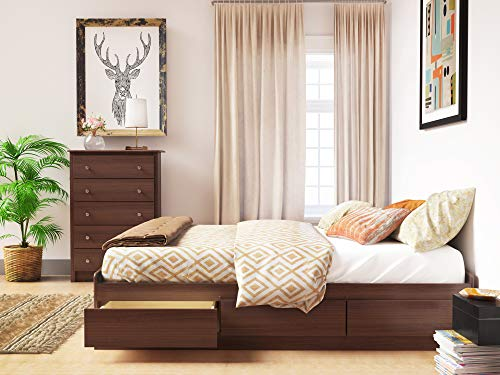 Prepac Mate's Platform Storage Bed with 6 Drawers, Queen, Cherry