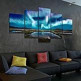 45Tdfc Lienzo en Cuadro Abstracto Moderno200x100cm Impresión Paisaje de Aurora Azul Ice 5 Piezas Material Tejido no Tejido Impresión Artística Imagen Gráfica Decoracion de Pared Arte