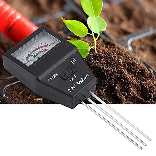 ZXNQ Soil Moisture Meter Tester 2 in 1 Portable Soil Fertilizer Analyzer PH Level Acidity Alkalinity Tester Kit, for Plants Crops Flowers Vegetable Farm