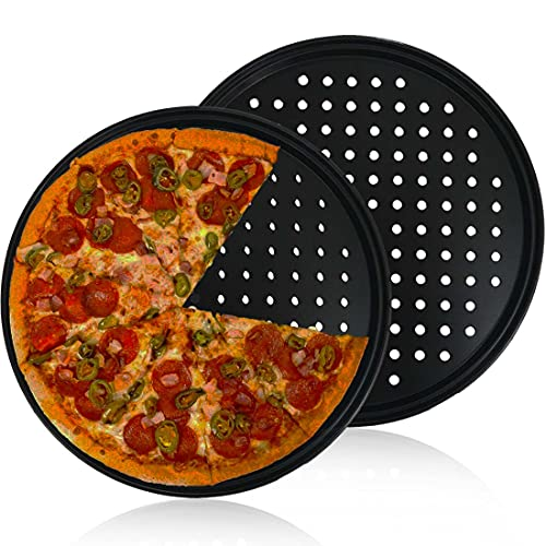 Pizza Pan With Holes,2 Pack 12 Inch Carbon Steel Pizza Bakeware