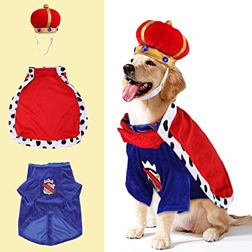 SEIS Halloween 3 Pcs Dog King Cloak Costume with Crown Cap Pet Suit Prince Autumn Winter Apparel Cat Hoodies with Hat Puupy Clothes French Bulldog Chihuahua (M (Chest Circumference 55cm/21.7'))