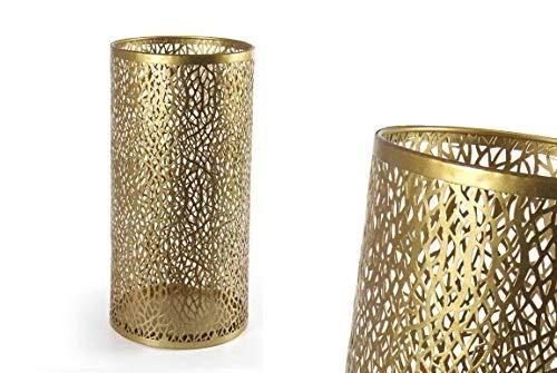 GICOS IMPORT EXPORT SRL Porta ombrelli in Metallo Colore Oro Tondo Shabby Chic 24 * 48 cm portaombrelli IRO-794759