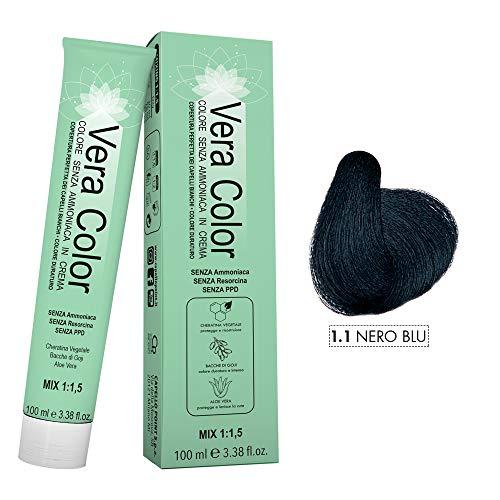 Vera Color - Nero Blu 1.1 - Colorazione Professionale Long Lasting in Crema Senza ammoniaca con Cheratina Vegetale, Aloe Vera e Bacche di Goji - Copertura Totale dei Capelli Bianchi - 100ml