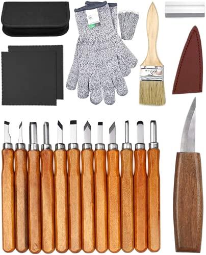 Kit de talla de madera para principiantes, juego de cuchillos para tallar madera de 23 pcs, suministros de grabado artesanal que incluyen cuchillo de corte multiusos y cuchillo de detalle con guantes