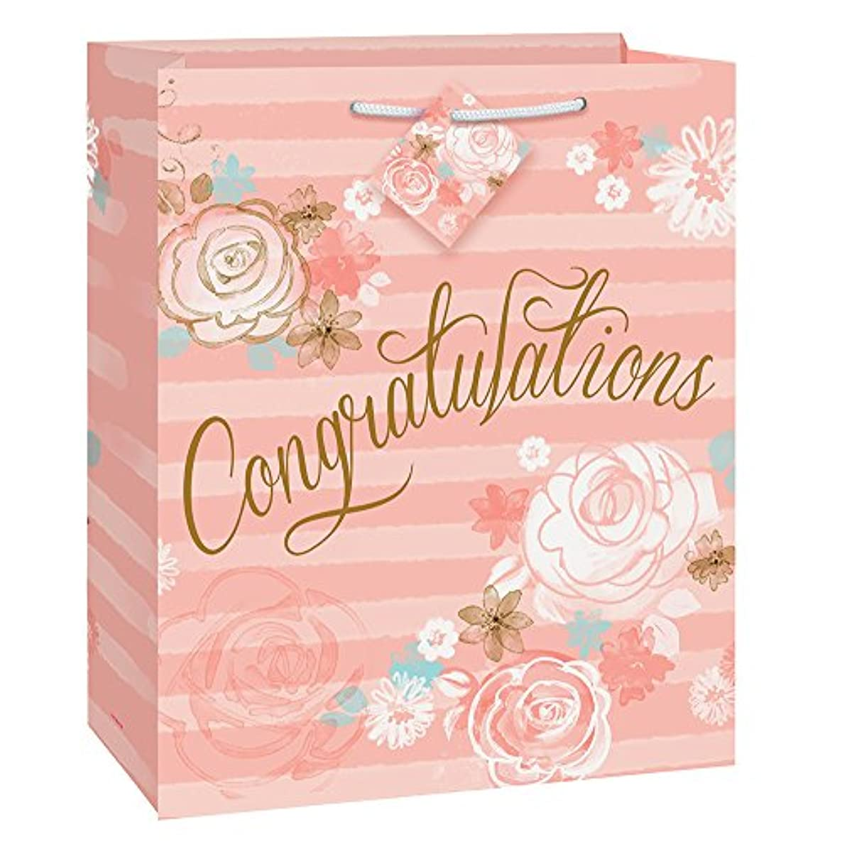 Gold & Pink Floral Congratulations Gift Bag