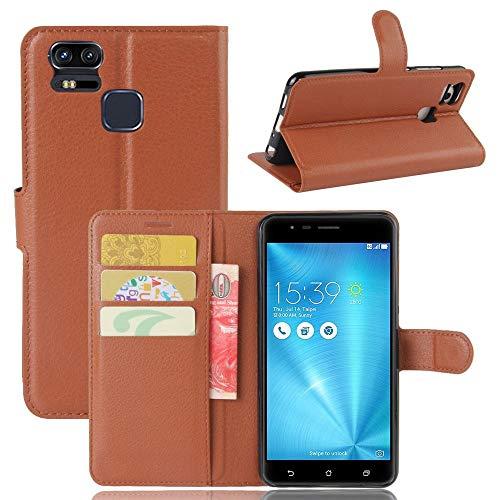 Sangrl Leder Lederhülle Schutzhülle Für Asus Zenfone 3 Zoom ZE553KL(5.5 Zoll), Wallet Tasche Für Asus Zenfone 3 Zoom ZE553KL(5.5 Zoll), mit Halterungsfunktion Kartenfächer Flip Hülle Braun