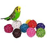 *10 Rattan Kugeln Bird Toy DIY Zubehör Spielzeug für Papageien Wellensittiche Sittiche Nymphensittiche Sittiche Unzertrennliche Aras African Greys Kakadu Amazon Käfig Teil zufällige Farbe