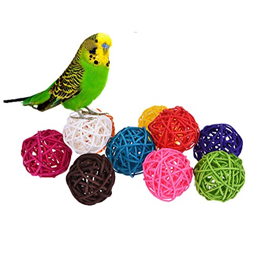 10 bolas de ratán, juguete para pájaros como loros, pericos, periquitos, agapornis, cacatúas,...