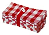 Cotton Craft 12 Pack Gingham Checks Oversized Dinner Napkins - Red - Size 20x20-100% Cotton - Tailored with...