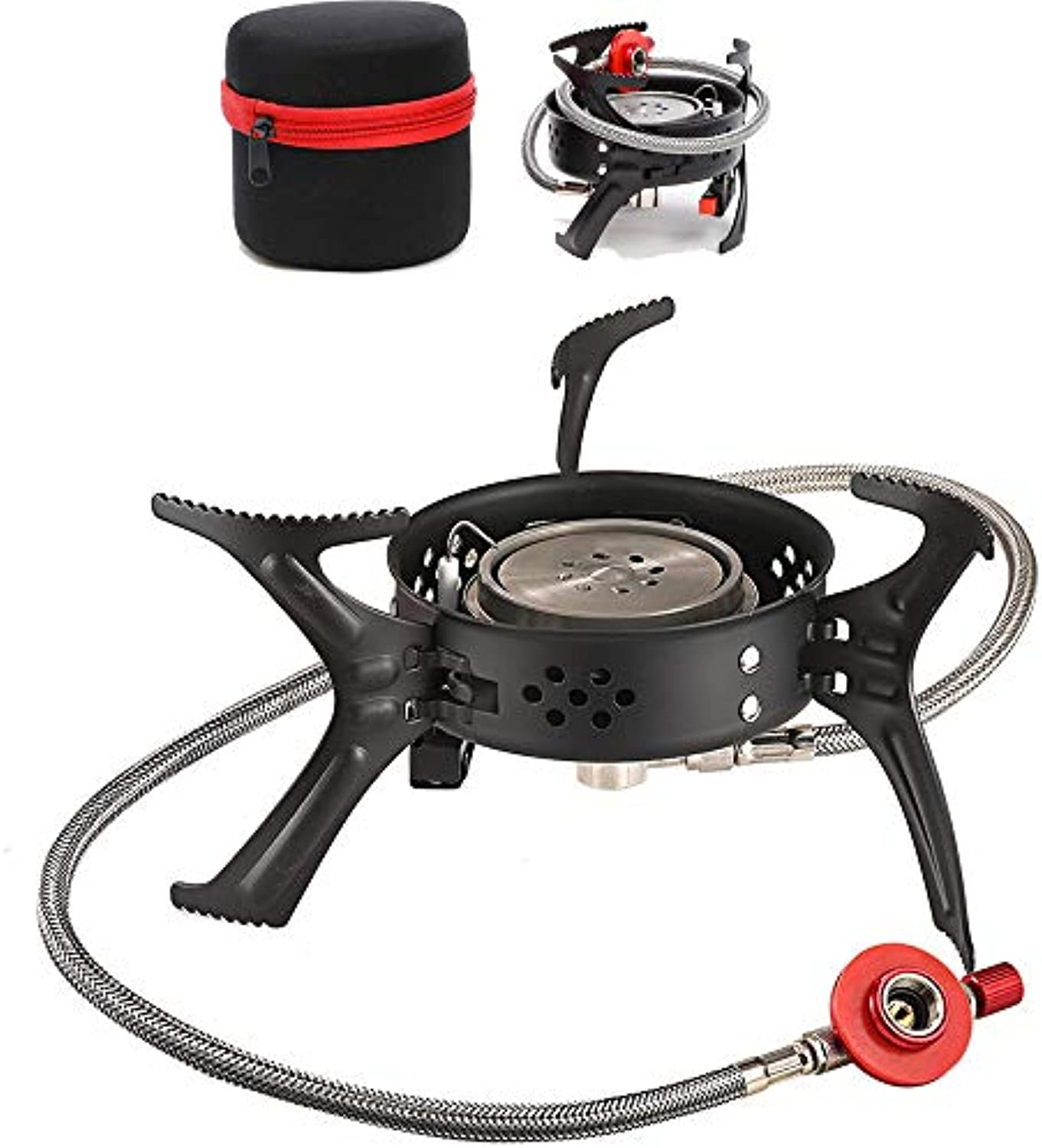 Camping Stove piezo igniter preheating System, Mini Small Foldable Compact Gas Stove, Flame Adjustable Windbreak Gas Burner Attachment Gas Cooker Camping Stove