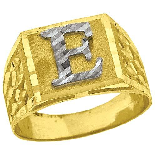 Anillo de oro de 10 quilates con inicial E unisex, mide 11,6 x 13,2 mm de ancho, talla Q 1/2 (más alto grado de oro que oro de 9 quilates)