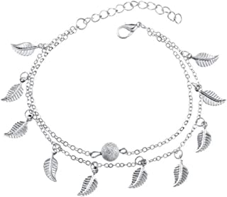 Cadena de tobillera de plata de doble capa, pulsera de tobillo bohemia con colgante de pluma Tobilleras