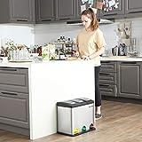 SONGMICS Mülleimer für die Küche, 3-in-1 Abfalleimer, 24 Liter, Mülltrennung, Treteimer aus Metall, Mülltrennsystem, robust, einfach zu reinigen, Stahl, silbern LTB24L - 5