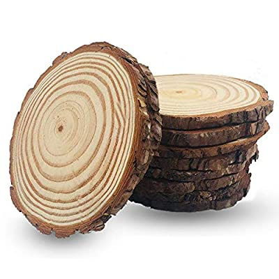 Unfinished Natural Wood Slices 4-4.7 inch 10 Pieces Wood Circles with Tree Bark for Table Centerpieces Crafts for DIY Christmas Ornaments Wedding Home Decor