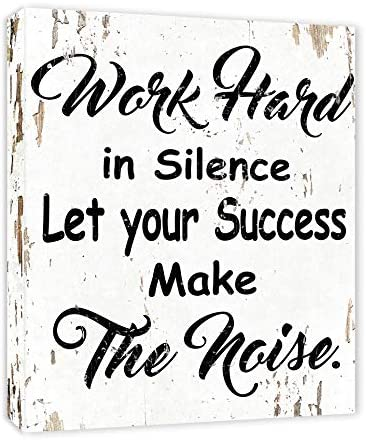 Work Hard in Silence Let Your Success Make The Noise Motivation Quote FRAMED Canvas Print Home product image