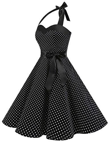 Dresstells Neckholder Rockabilly 50er Polka Dots Punkte 1950er Kleid Petticoat Faltenrock Black Small White Dot L - 3