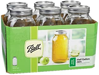 Ball Wide Mouth 1/2 Gal. Glass Jars 6 Pack | Includes lids with bands (64 OZ)